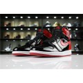 Men Air Jordan 1 High OG NRG Patent Leather Banned Black White-University Red