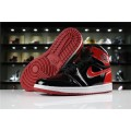 Men Air Jordan 1 High OG NRG Patent Leather Banned Black White-University Red