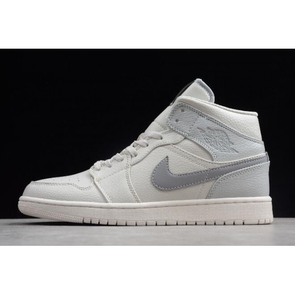 Men/Women Air Jordan 1 Mid SE Light Bone Grey Fog-Reflect Silver Sneaker