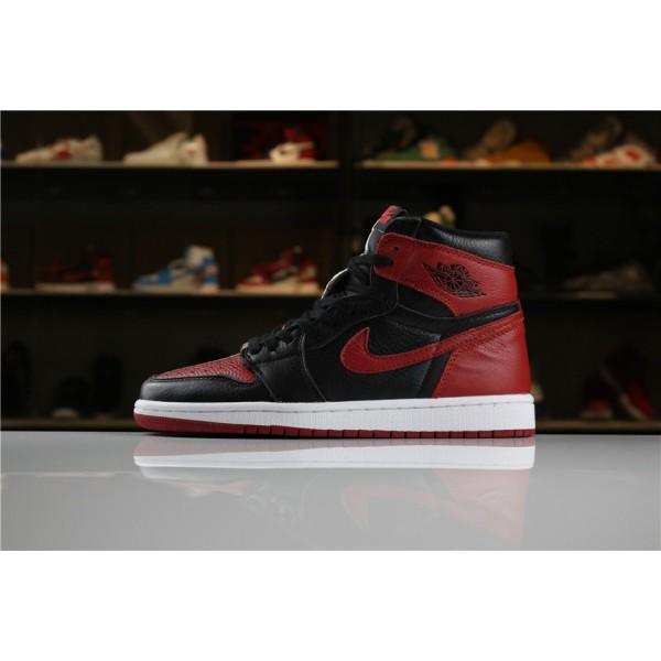 Men Air Jordan 1 Retro High OG Homage To Home Black White-University Red