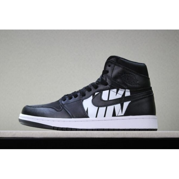 Men Off-White x Air Jordan 1 Nike Swoosh Black White