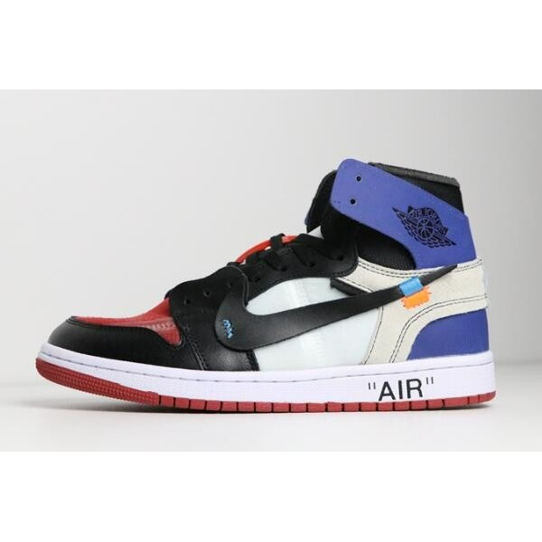 Men/Women Off-White x Air Jordan 1 Black White Varsity Royal-Varsity Red Shoes