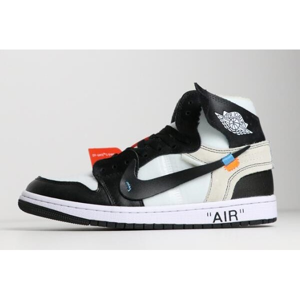 Men/Women Off-White x Nike Air Jordan 1 Black White AA3834-102