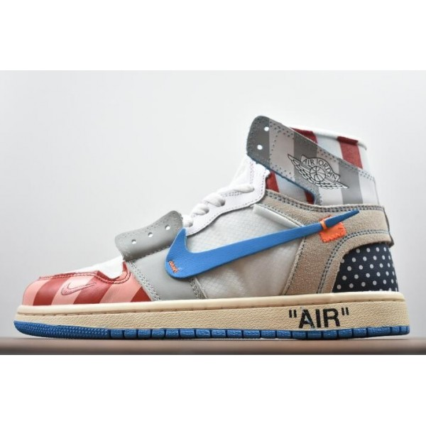 Men/Women Parra x Off-White x Air Jordan 1 High Custom AA3834-108