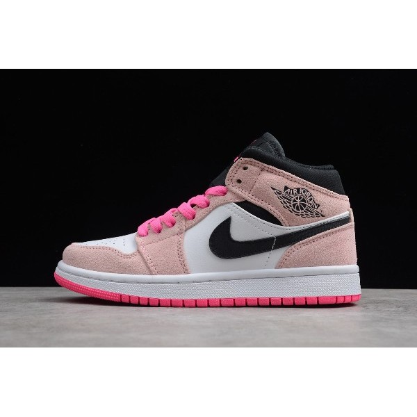 Women Air Jordan 1 Mid Crimson Tint Hyper Pink 852542-801