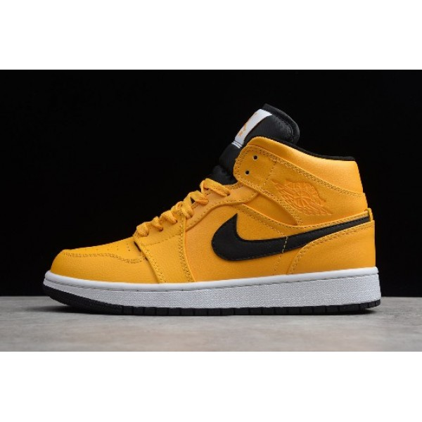 Men/Women Air Jordan 1 Mid Taxi Yellow University Gold Black