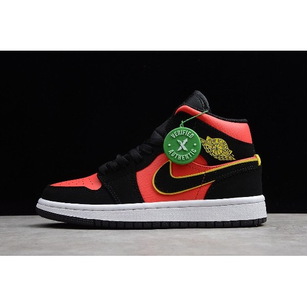 Men/Women Air Jordan 1 Retro Mid Hot Punch Black Volt-Hot Punch