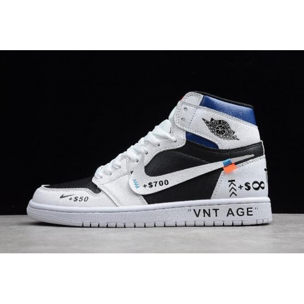 Men/Women Air Jordan 1 High OG VNT AGE White Black-University Blue