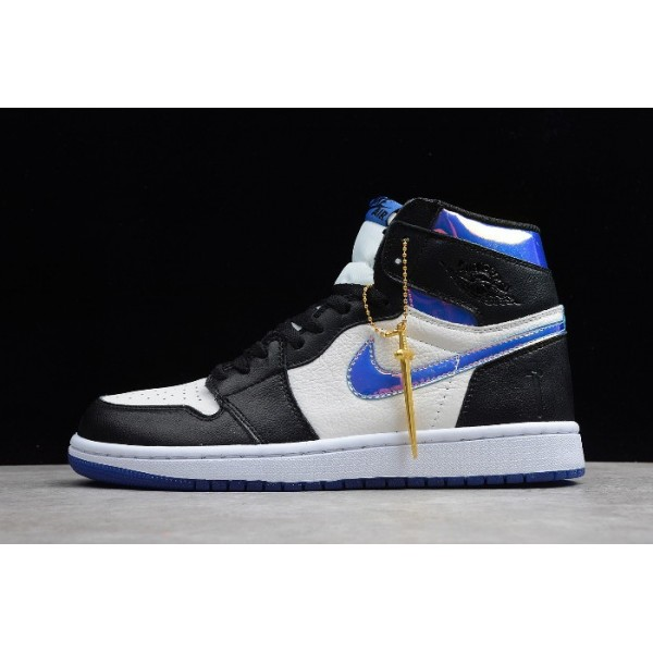 Men/Women Jordan Shoes 1 High Fragment Design Black White-Varsity Royal