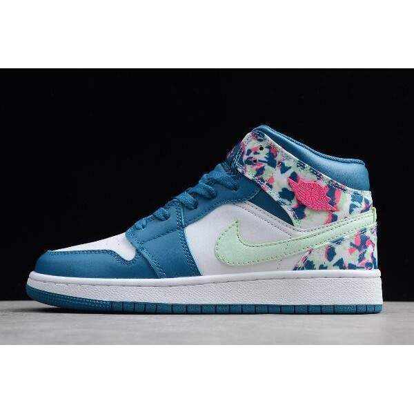 Women Air Jordan 1 Mid White Blue-Pink-Green