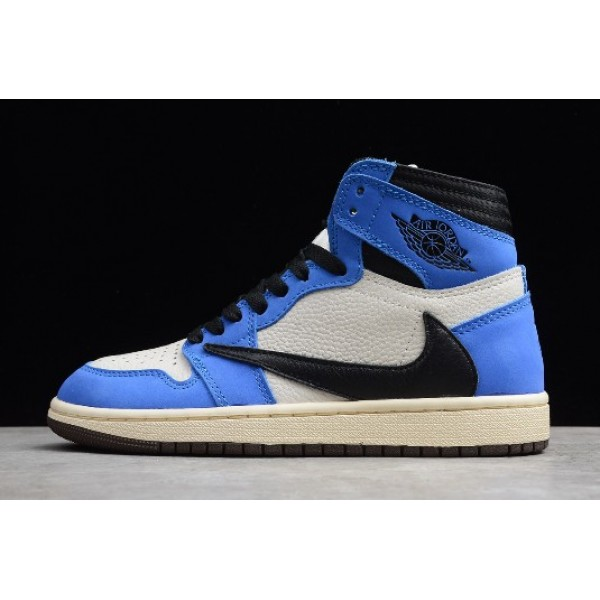 Men/Women Air Jordan 1 High OG TS Sail Black-Blue