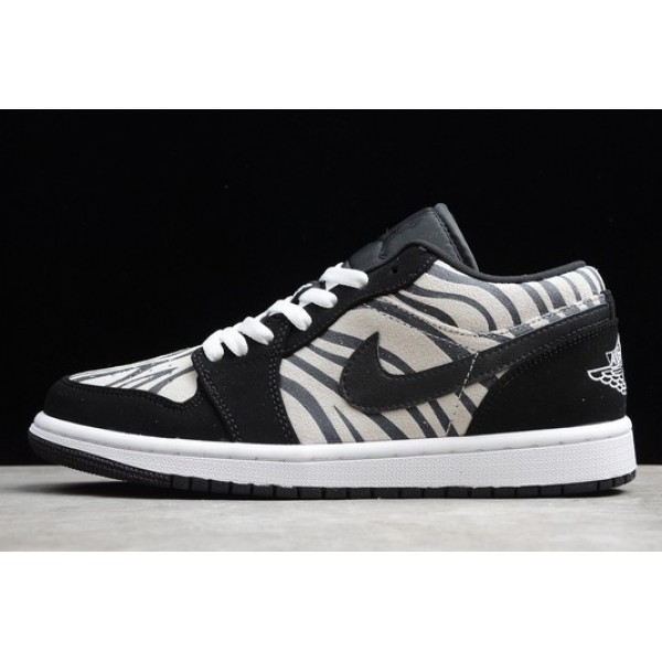 Men/Women Air Jordan 1 Low Zebra Black White-Sail