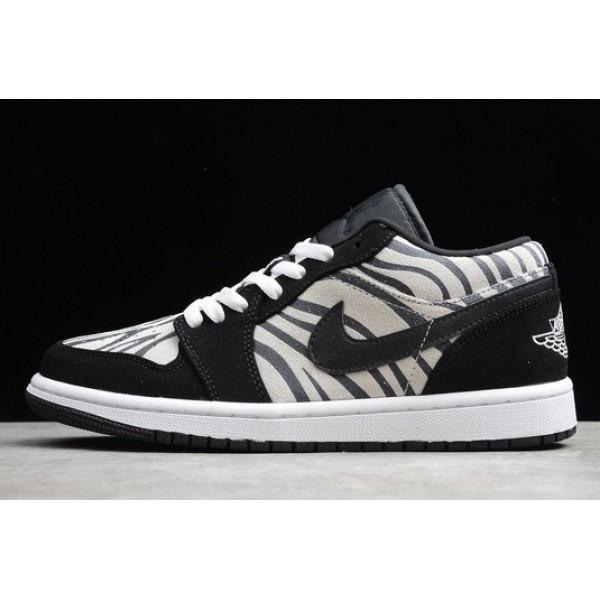 Men/Women Air Jordan 1 Low Zebra Black White-Sail