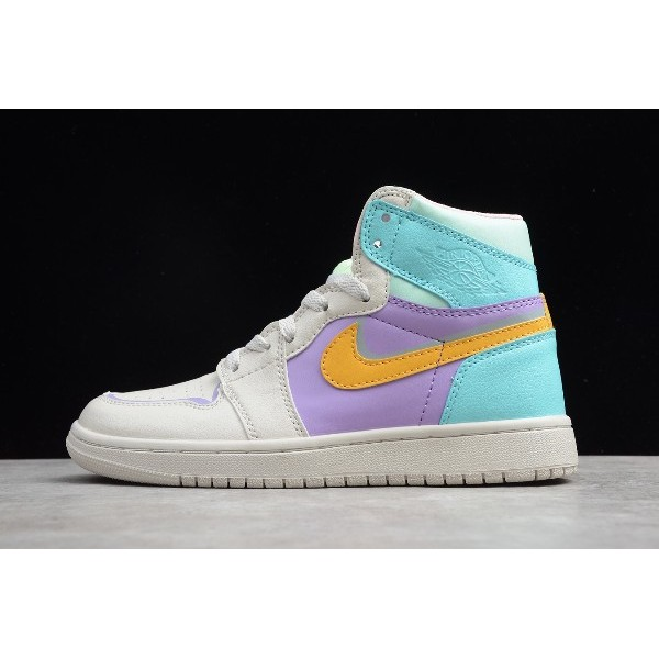 Women Shoes Air Jordan 1 White Purple Green Orange