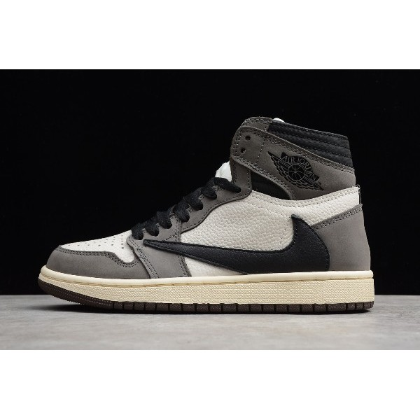 Men/Women Jordan 1 High OG TS SP Travis Scott Sail Black-Grey