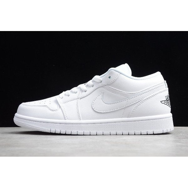 Men/Women Air Jordan 1 Low White Black Shoes