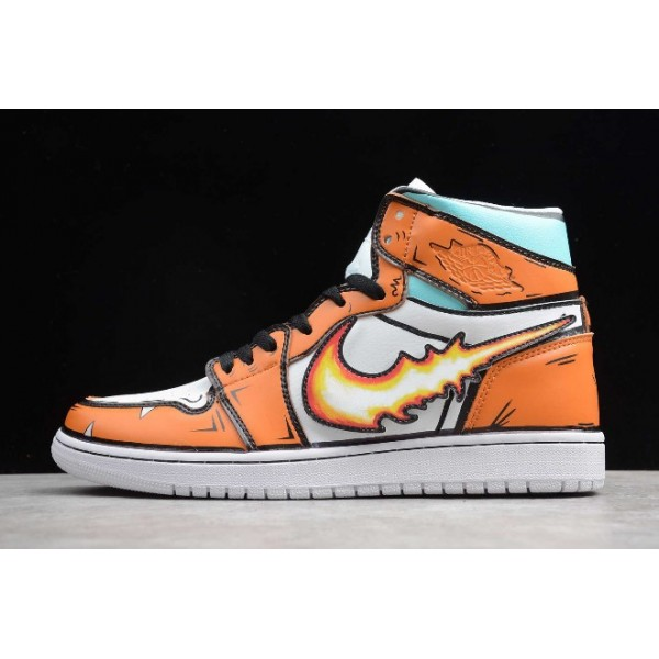Men/Women Release Air Jordan 1 High Fire Dragon Orange White Shoes