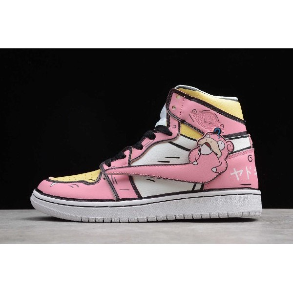 Women Release Air Jordan 1 High Pink White Black Yellow