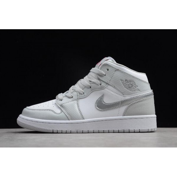 Women Air Jordan 1 Mid Grey Fog Deadly Pink Silver White