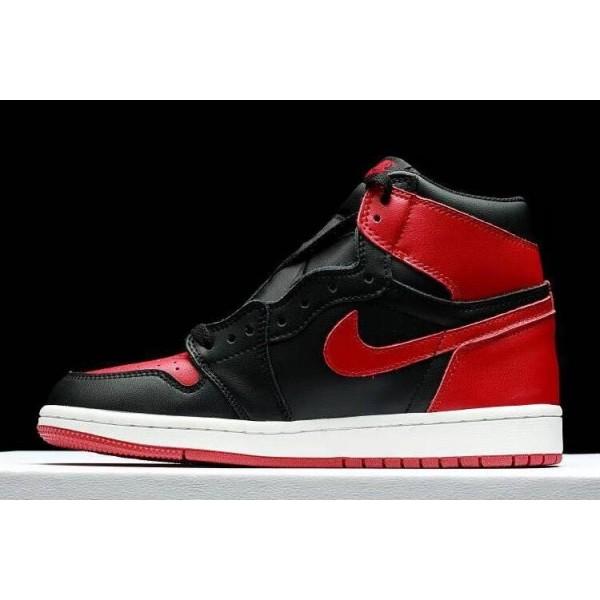 Men/Women Air Jordan 1 High OG Banned Fleece Lined Black-Varsity Red-White