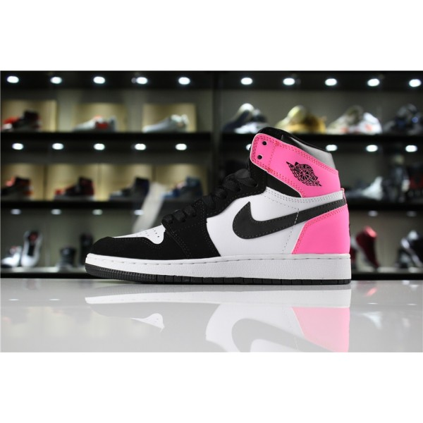 Men/Women Air Jordan 1 High OG Valentine Day Black Hyper Pink-White