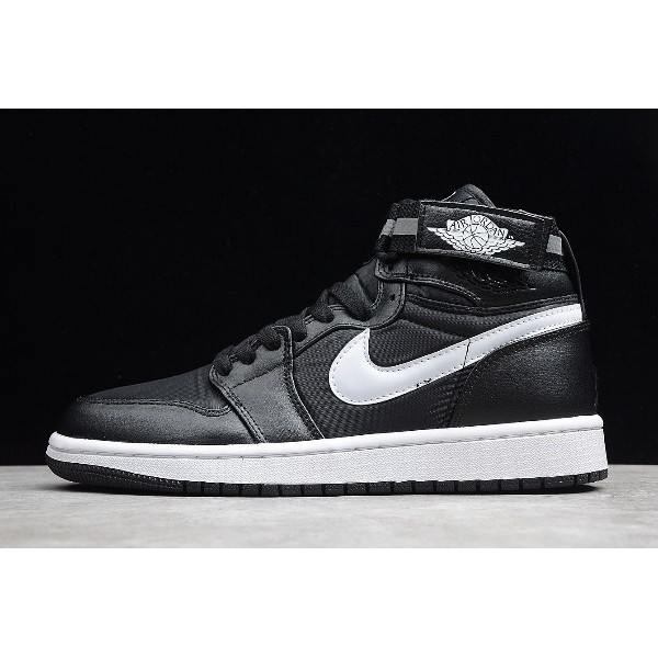 Men Air Jordan 1 High Strap 3M Black Dark Grey-White