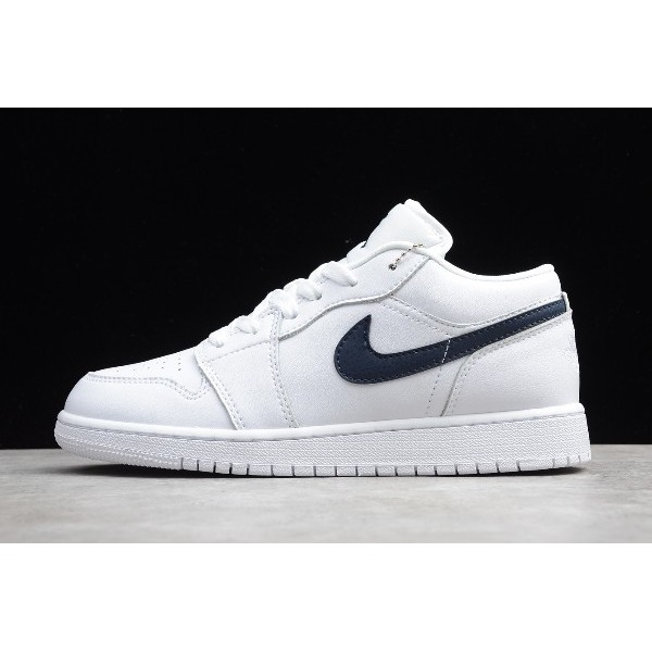 Men/Women Air Jordan 1 Low White Obsidian Shoes