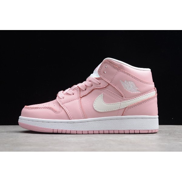 Women Air Jordan 1 Mid Deadly Pink Grey Fog-White For