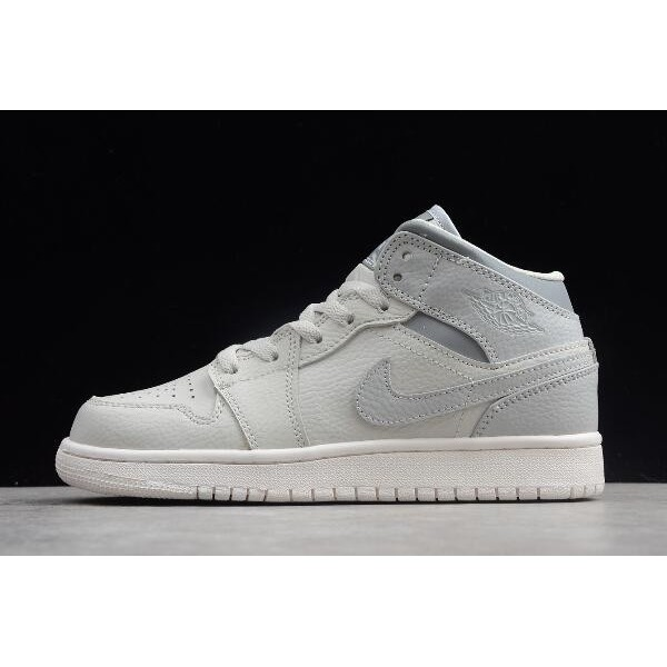Women Air Jordan 1 Mid Light Bone Grey