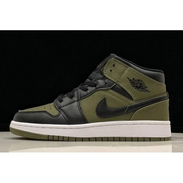 Women Air Jordan 1 Mid Olive Canvas Black-White