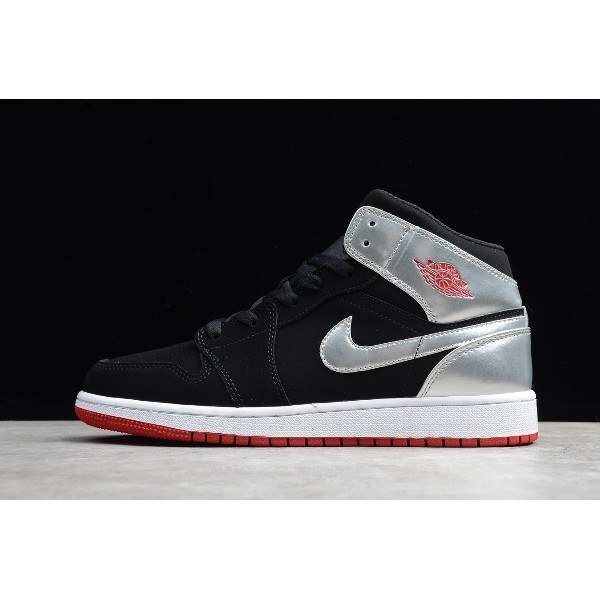 Men/Women Air Jordan 1 Mid Johnny Kilroy Black Metallic Silver
