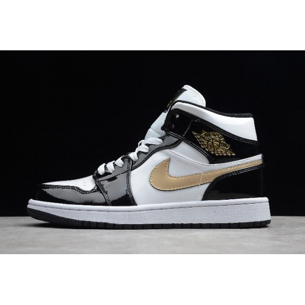 Men Air Jordan 1 Mid Patent Leather Black and Gold