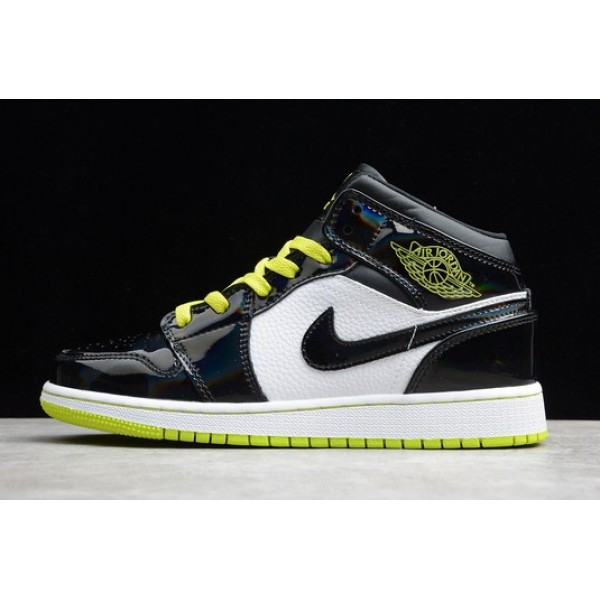 Men/Women Air Jordan 1 Mid SE Black Cyber Mystic Green