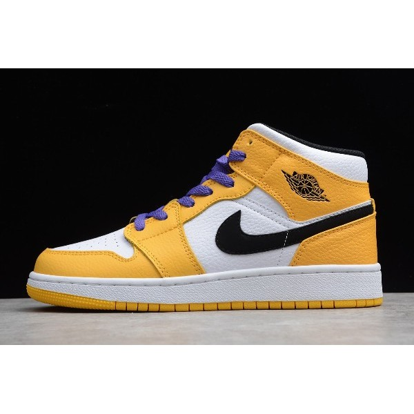 Men/Women Air Jordan 1 Mid SE Lakers White Yellow-Purple-Black Shoes