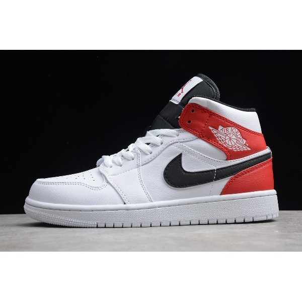 Men/Women Air Jordan 1 Mid White Black Red 554724-116