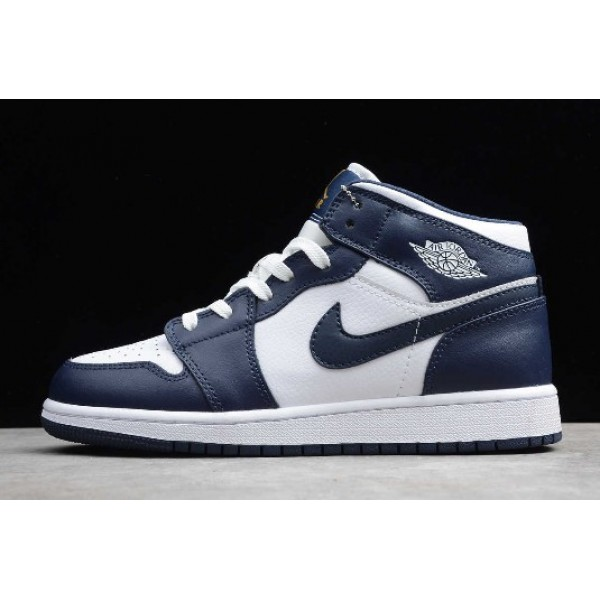 Men/Women Air Jordan 1 Mid White Metallic Gold Obsidian To