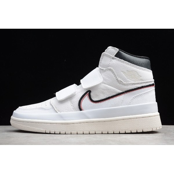 Men/Women Air Jordan 1 Retro High Double Strap White Black Sail