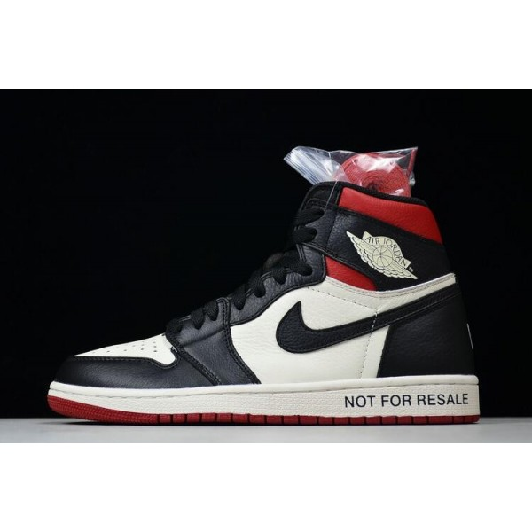 Men Air Jordan 1 Retro High OG NRG No L Sail Black-Varsity Red