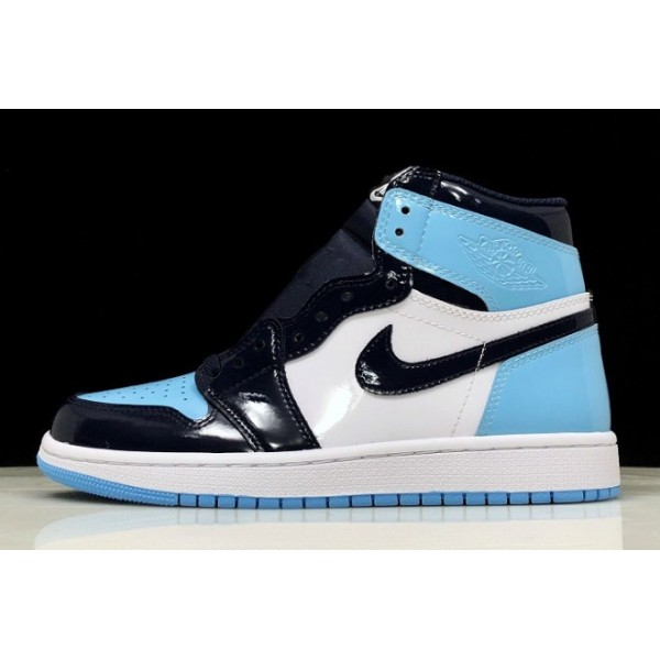 Men Air Jordan 1 Retro High OG UNC Patent Obsidian Blue Chill-White