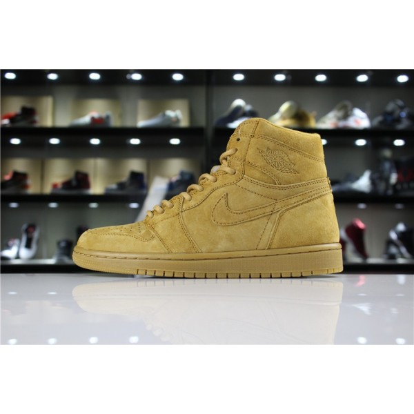 Men Air Jordan 1 Retro High OG Wheat Golden Harvest 555088-710