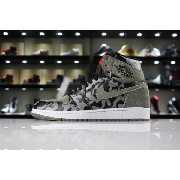 Men Air Jordan 1 Retro High Premium Shadow Camo Black Dark Stucco-White