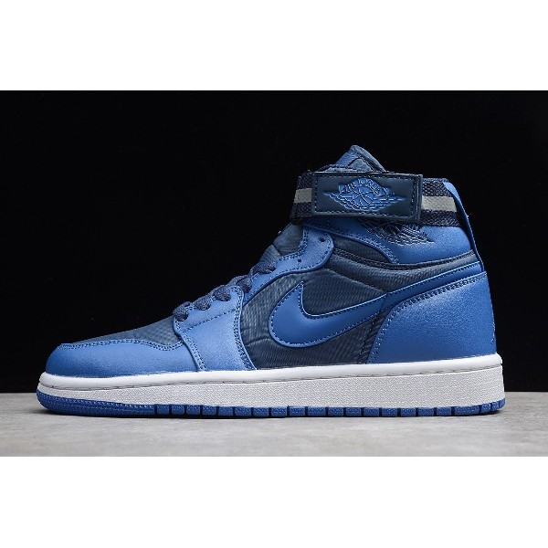 Men Air Jordan 1 Retro High Strap French Blue University Blue-White