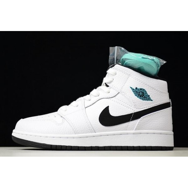 Women Air Jordan 1 Retro Mid BG White Black-White-Hyper Jade