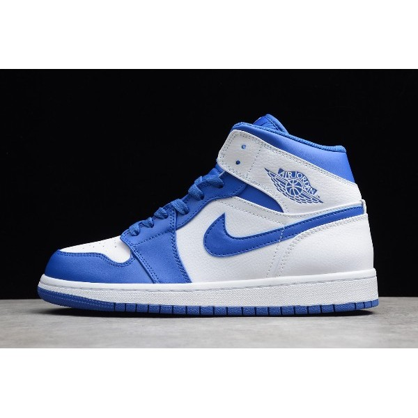 Men/Women Air Jordan 1 Retro Mid White Hyper Royal