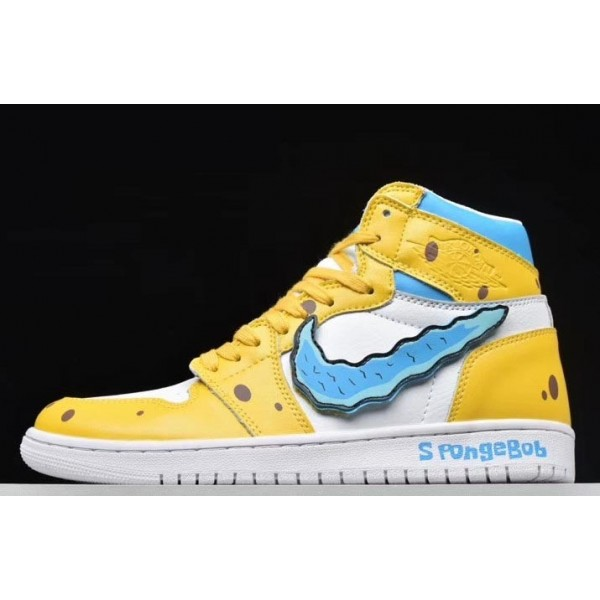Men/Women Air Jordan 1 SpongeBob Yellow White-Blue 556298-002
