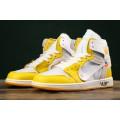 Men Air Jordan 1 x Off-White NRG White Dark Powder Yellow-Cone