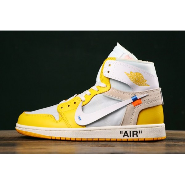 Men Air Jordan 1 x Off-White NRG White Dark Powder Yellow-Cone