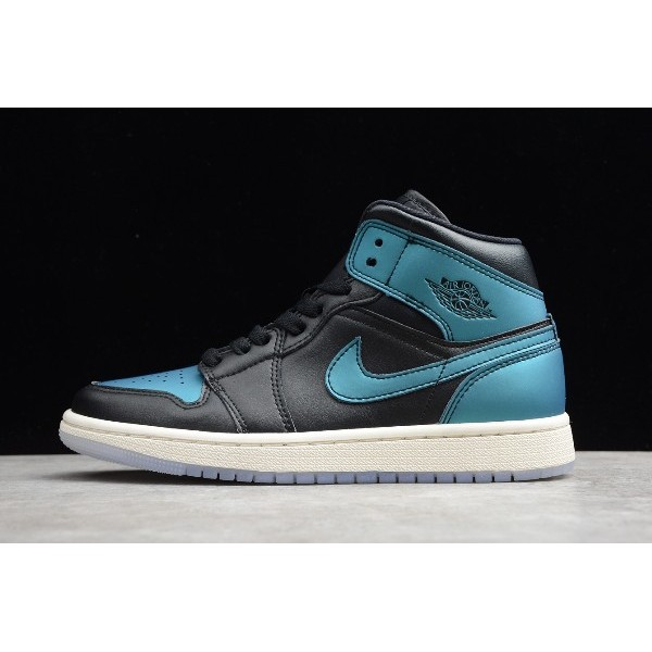 Men/Women Air Jordan 1s Mid Metallic Turquoise Black Green BQ6472-009