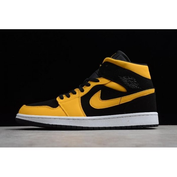 Men Air Jordan 1s Mid Reverse Love Black University Gold-White