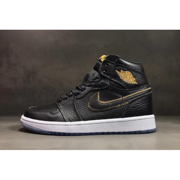 Men Air Jordan 1 High OG Los Angeles Black Metallic Gold-Summit White